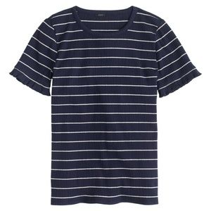 🆕️ J. Crew Ribbed Striped T-Shirt Ruffled Sleeves